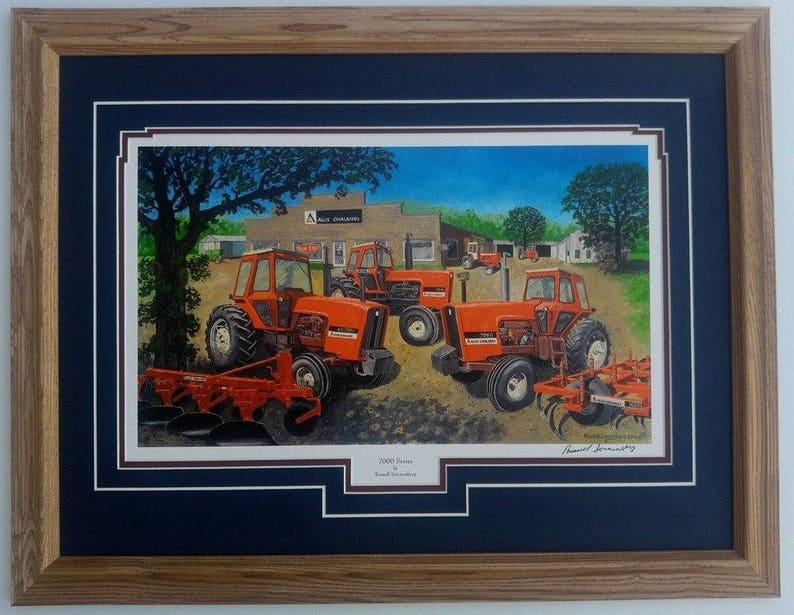 Framed 21 x 27 double matted Allis Chalmers 7000, 7010, 7060 tractor Farm  art print by Russell Sonnenberg titled 7000 Series