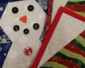 Set of 3 Christmas mug rugs. 1 snowmen and 2 Christmas trees