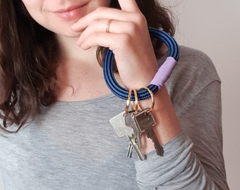 Navy and lilac Recycled Climbing Rope loop bracelet keychain.  Eco friendly Key fob with three key rings. Key ring wristlet Upcycled