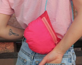 Upcycled Ripstop Nylon Crossbody Bag- Cut from Recycled Paraglider