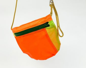 Recycled Multi Way Bag for Bike Rides and Festivals. Cross body purse and belt bag. Made in Berlin. Up Cycled Paraglider