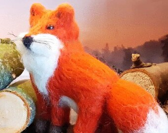 Fox felted with sheep's wool