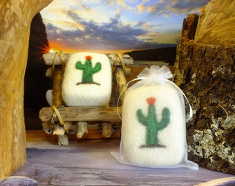 Cactus soap felted in sheep's wool