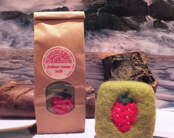 Strawberry soap felted in sheep's wool