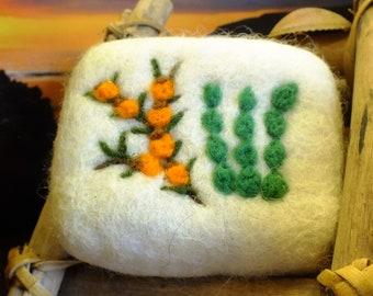 Sea buckthorn/spirulina algae natural soap felted with sheep's wool