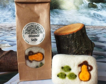 Olive oil soap felted in sheep's wool