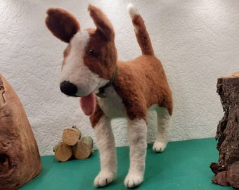 Large dog made of felt by hand.