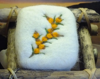 Sea buckthorn breeze natural soap felted in sheep's wool