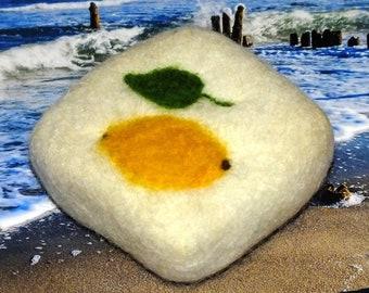 Lemon lemon balm, natural soap felted with sheep's wool handmade Made