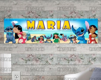 Personalized Customized Lilo and Stitch Poster Name Banner Birthday Wall Decor