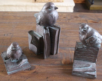 Birds and Books Figurines (Set of 3)