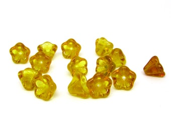 Topaz 20 Bell Flower Transparent   Czech Pressed Glass Dark Amber Top Drilled 8x6mm