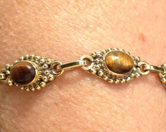 Tiger eye brass bracelet