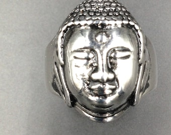 Peacefull Buddha stainless steel men ring.
