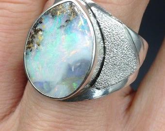 Australian fire opal in a silver ring.