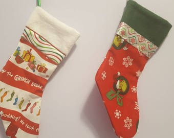 Christmas stockings/ the grinch/ santa/ reindeer/ owls/ candy canes/ frosty/ snowflakes/ charlie brown/ minions/ Rudolf/ presents/ stockings