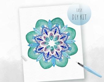 DIY Kit- Watercolor Mandala for Mindfulness | Wellness Activity