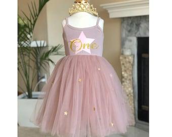 ff1e6b71 One Year Old Birthday Dress - Blush Pink Custom Birthday Dress - One or Two Year  old Birthday Girl - Fluffy Tutu Princess Dress Tiara Crown