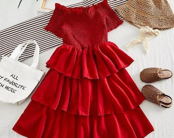 So Sydney Girls or Toddler I Love Summer Strawberry Dress /& Hair Bow Accessory