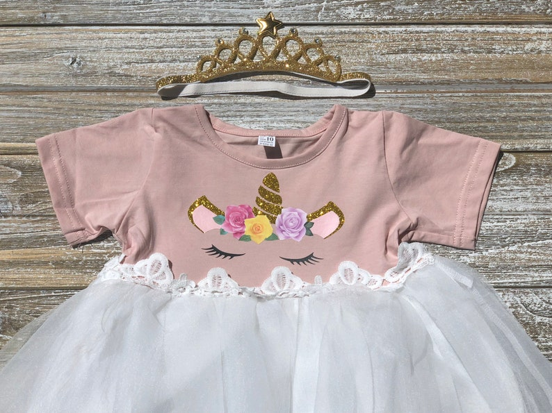 ed8f160680c3 Pink & Gold Unicorn One Year Old Birthday Girl Dress Cute | Etsy