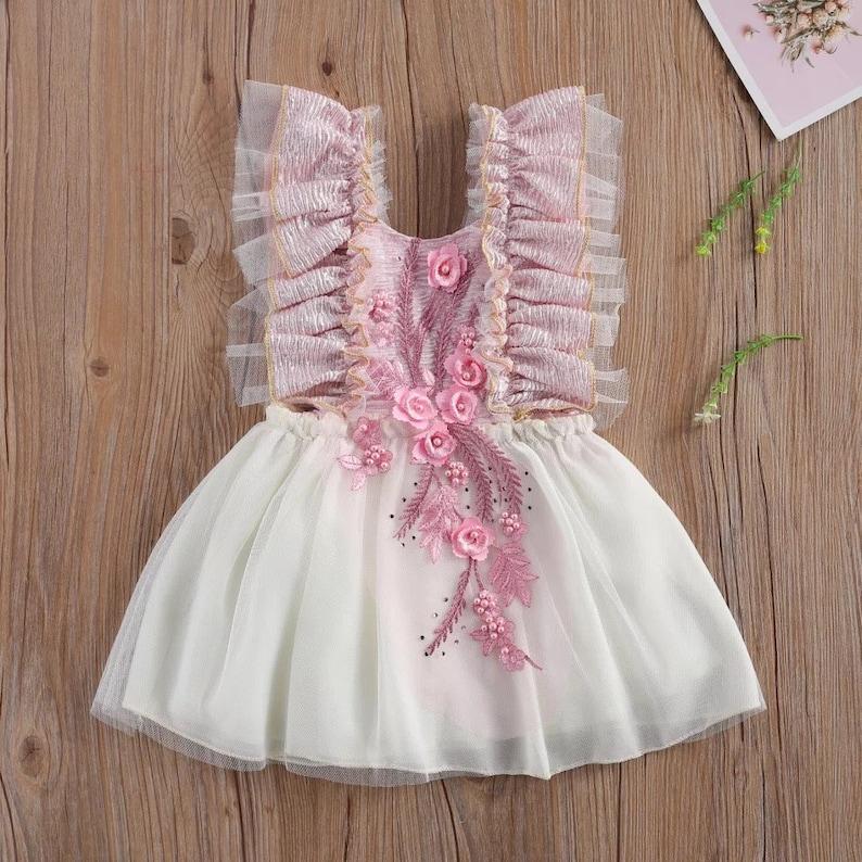 Adorable Floral Detail Baby Dress Baby Birthday Dress Blush Pink Rose Gold