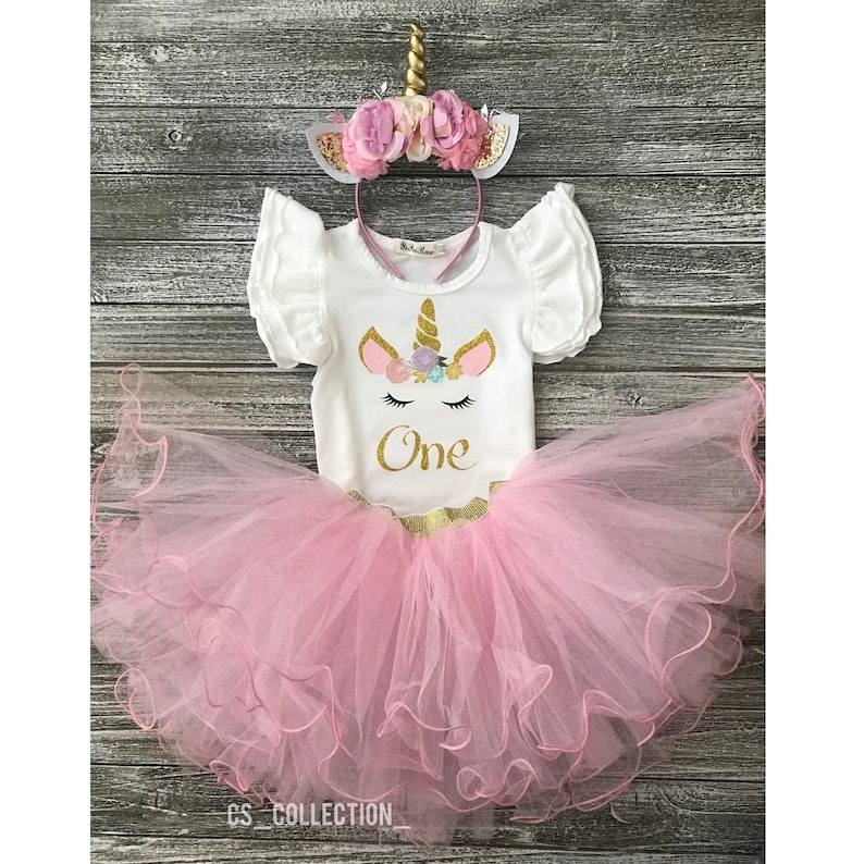 d5efc0be68e8 Personalized Pink & Gold Unicorn One Year Old Birthday Girl | Etsy