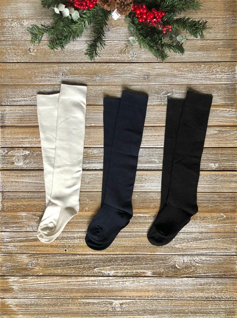 Navy Girls Over The Knee High Socks Black White