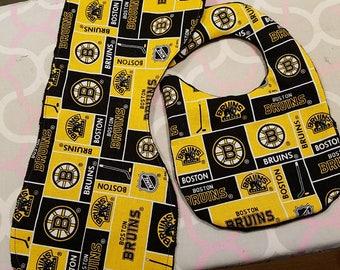 Boston Bruins burp cloth and bib set.