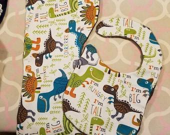 Dinosaur burp cloth and bib set with minky backing