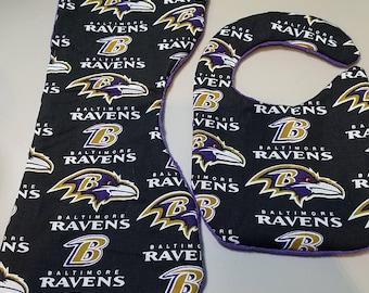 Baltimore Ravens burp cloth and bib set