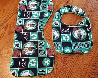 Boston Celtics burp cloth and bib set.  minky back