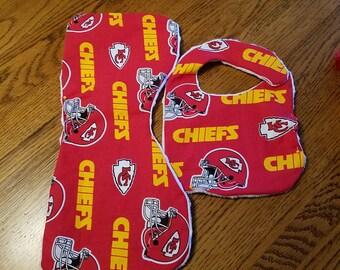 Kansas City Chiefs burp cloth and bib set