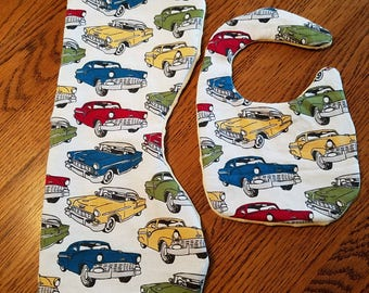 classic cars burp cloth and bib set.  flannel front minky back