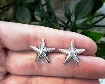 Silver Starfish Stud Earrings, Sea Star Earrings, Nautical design earrings, Sterling Silver, Organic, Handmade, Earrings #119 E