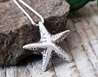 Silver Starfish Pendant, Sterling silver sea star pendant, Nautical design necklace, Organic Necklace Handmade, Pendant #119.A