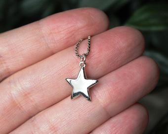 Dainty silver star pendant, Mini sterling silver star pendant, Solid sterling silver, Hammered silver star necklace,  Handmade, Pendant #151
