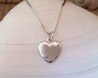 Heart pendant - Silver heart charm pendant, Dainty heart pendant, Small heart pendant, Locket heart pendant necklace, Handmade, Pendant #129