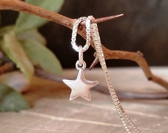 Dainty Silver Star Pendant, Mini sterling silver star pendant, Solid sterling silver star, Handmade, Pendant #151.P