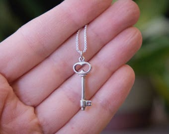 Dainty Silver Key Pendant, Sterling silver dainty key pendant, Boho style key necklace, Pendant #137.A