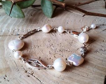 Silver & Pearl Beaded Bracelet, Sterling silver and freshwater pearl foral design beaded bracelet. Handmade, Bracelet #176
