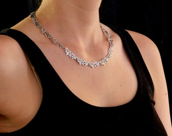 Silver Necklace, Sterling silver floral lace necklace, Choker Necklace, Paisley Necklace, Handmade, Necklace #185