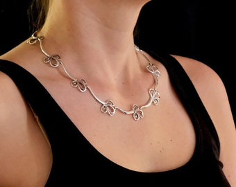 Silver Floral Necklace, Sterling silver chocker necklace, Large flower necklace, Paisley Necklace, Handmade, Necklace #196