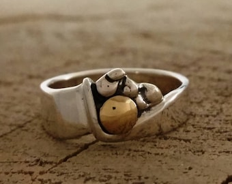 Silver Band Ring with Solid Gold, Dainty sterling silver moutains & moon silver band ring with solid 10k gold, Handmade, Ring #219