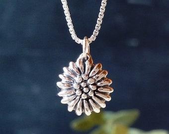 Silver Sunflower Pendant, Dainty sterling silver sunflower pendant , Sunflower necklace, Flower necklace, Handmade, Floral Pendant #803