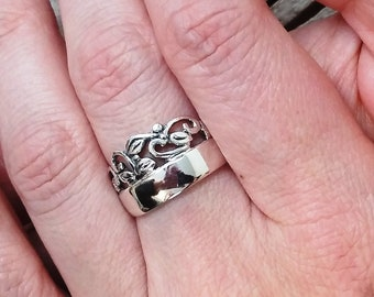 Sterling silver leaf ring Men ring Handmade Forest ring Unisex ring Ring #243-245 Stackable ring Silver Band Ring with leaves