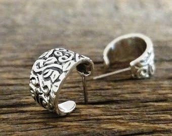 Leaves Hoop Earrings - Silver hoop earrings, Dainty silver hoop earrings, Floral lace etched earrings, Leaf earrings, Handmade, #189.B