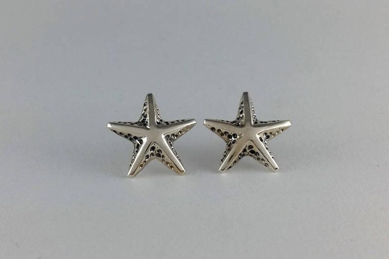 Handmade,Earrings #119.A Silver Starfish Stud Earrings Naurical design earrings Sea Star Earrings Sterling Silver