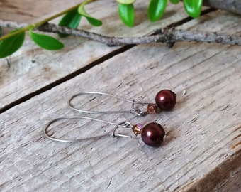 Pearl and swarovski dangle earrings, Ready to ship brown earrings, Boho earrings, Gypsy earrings, Gift for her, Statement earrings, Handmade
