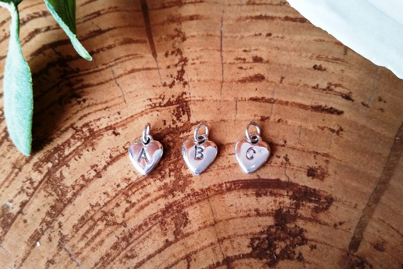 Handmade Pendant #129.ST Mini sterling silver monogram heart pendant Dainty Silver Monogram Pendant Monogram Sterling silver heart