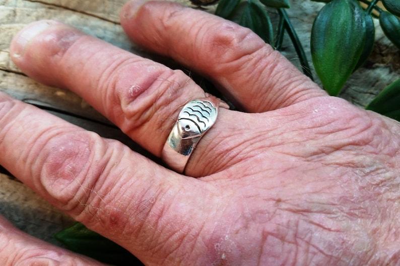 Nautical ring Handmade Unisex Band ring Sailor ring Men band ring Silver large fish band ring Fish Ring Ring #206 Fish ring